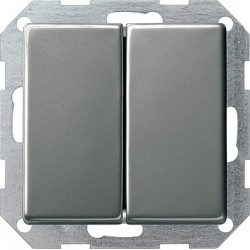 Łącznik przyciskowy przeł./przeł. Gira E22 naturalny stalowy