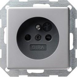 Gniazdo z bolcem z ochr.dz. Gira E22 aluminium