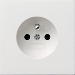 Gniazdo z bolcem z ochr.dz. Gira F100 biały