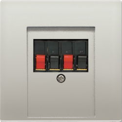 Gniazdo audio, podwójne z zaciskami, aluminiowe, JUNG LS Aluminium