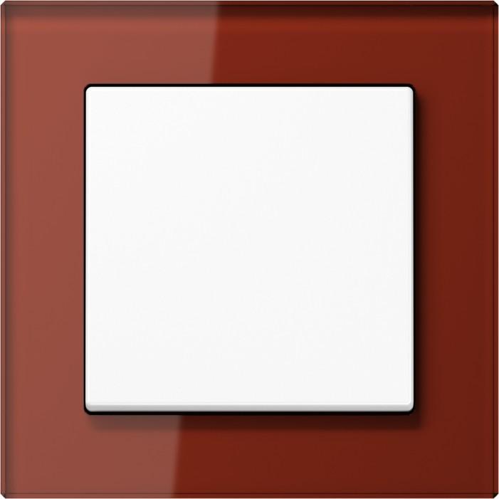 Jung Acreation biały włącznik w czerwonej szklanej ramce. Pojedynczy uniwersalny.