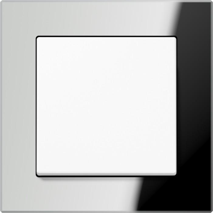 Jung Acreation biały włącznik w lustrzanej szklanej ramce. Pojedynczy uniwersalny.