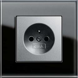 Gira Esprit Szkło czarne alu gniazdko z uziemieniem - KOMPLET