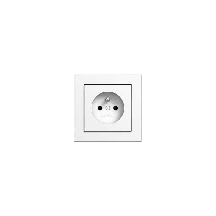 Gira E2 - gniazdko z uzieimieniem biały połysk - komplet