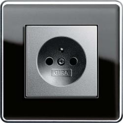 Gira Esprit C Szkło czarne alu gniazdko z uziemieniem - KOMPLET