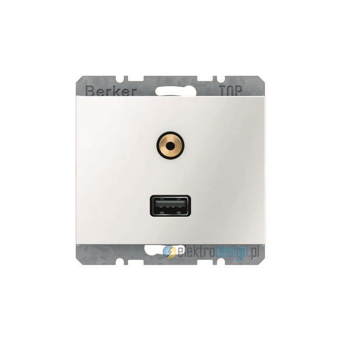 Gniazdo USB / 3.5 mm Audio . śnieżnobiały. połysk. K.1 Berker