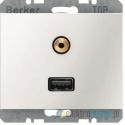 Gniazdo USB / 3.5 mm Audio śnieżnobiały Berker K.1
