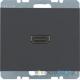 Gniazdo HDMI z przyłączem 90°. antracyt. mat. K.1 Berker
