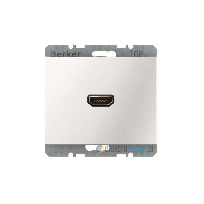 Gniazdo HDMI z przyłączem 90°. śnieżnobiały. połysk. K.1 Berker