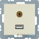 Gniazdo USB / 3.5 mm Audio . kremowy. połysk. S.1 Berker
