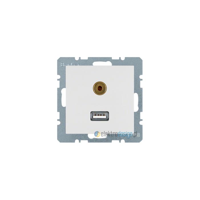 Gniazdo USB / 3.5 mm Audio . śnieżnobiały. połysk. S.1/B.1/B.3/B.7 Glas Berker