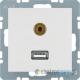 Gniazdo USB / 3.5 mm Audio . śnieżnobiały. mat. S.1/B.1/B.3/B.7 Glas Berker