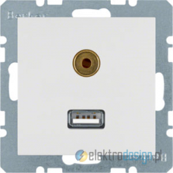 Gniazdo USB / 3.5 mm Audio śnieżnobiały Berker B.3/B.7