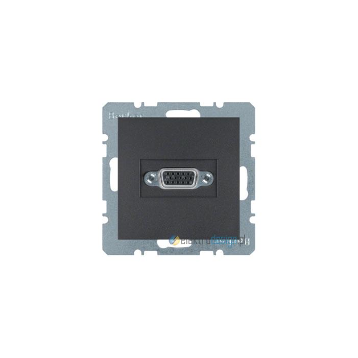 Gniazdo VGA z zaciskami śrubowymi. antracyt. mat. B.1/B.3/B.7 Glas Berker