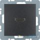 Gniazdo HDMI. antracyt. mat. B.1/B.3/B.7 Glas Berker