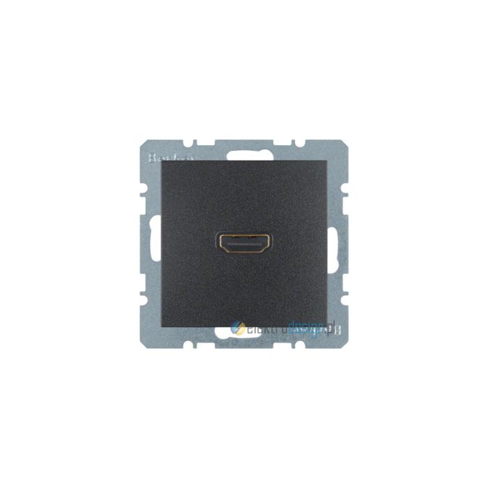 Gniazdo HDMI z przyłączem 90°. antracyt. mat. B.1/B.3/B.7 Glas Berker