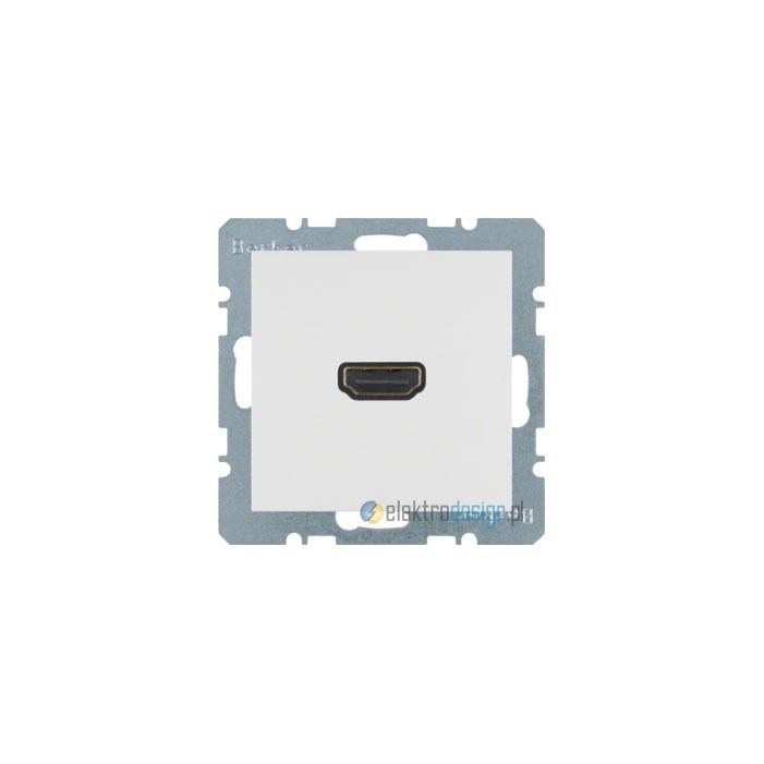 Gniazdo HDMI z przyłączem 90°. śnieżnobiały. połysk. S.1/B.3/B.7 Glas Berker