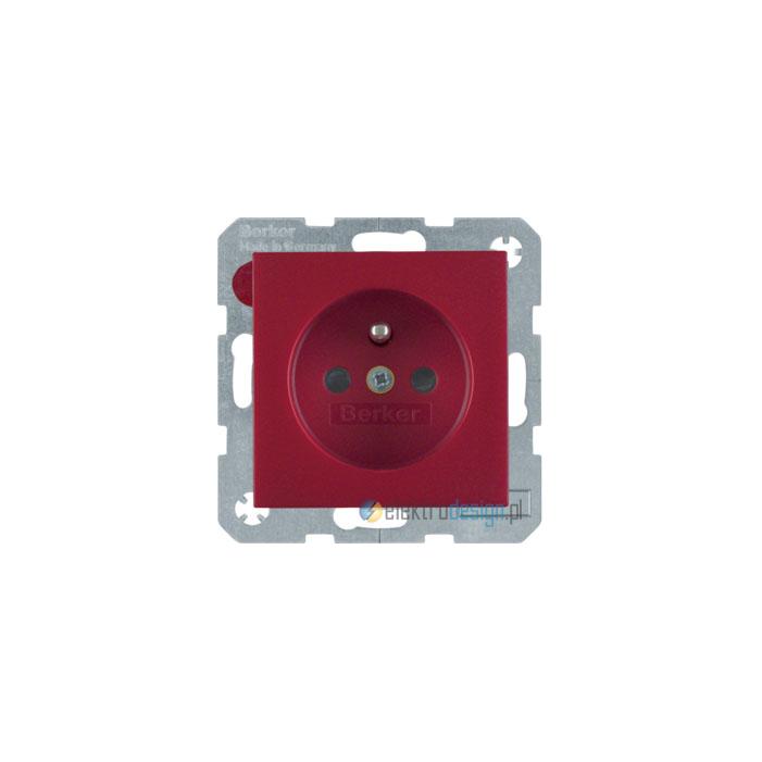 Gniazdo z uziemieniem z podwyższoną ochroną styków. czerwony. S.1/B.1/B.3/B.7 Glas Berker