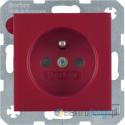 Gniazdo z uziemieniem czerwony Berker B.3/B.7