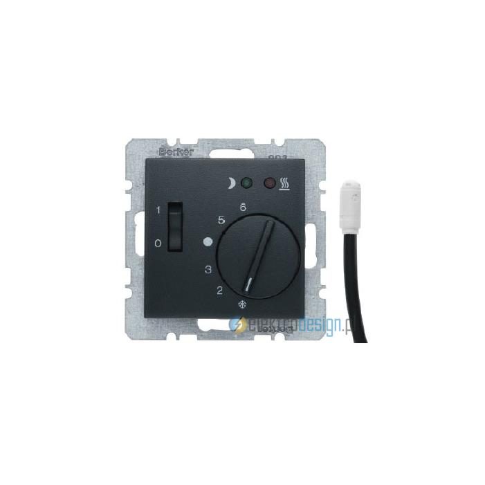 Regulator temperatury podłogowej z zestykiem zwiernym. elementem centralnym i łącznikiem. antracyt. B.1/B.3/B.7 Glas Berker