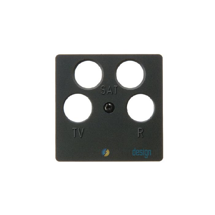 Gniazdo antenowe RTV/SAT 4-wyjściowe nieprzelotowe. antracyt. B.1/B.3/B.7 Glas Berker