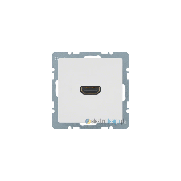 Gniazdo HDMI z przyłączem 90°. śnieżnobiały. mat. S.1/B.1/B.3/B.7 Glas Berker
