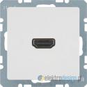 Gniazdo HDMI z przyłączem 90° śnieżnobiały mat Berker B.3/B.7