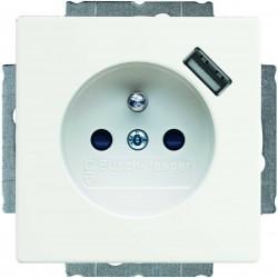 ABB Carat,Solo,Axcent,Future Gnaizdo z uziemieniem i ładowarką USB biały studyjny