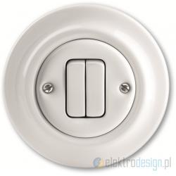 ABB Decento Włącznik podwójny świecznikowy biały
