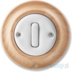 ABB Decento Włącznik pojedynczy krzyżowy biały buk naturalny