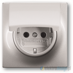 ABB Impuls Gniazdko z klapką schuko aluminiowo srebrny