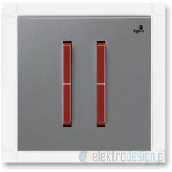 ABB NEO Włącznik podwójny świecznikowy stalowy terakota