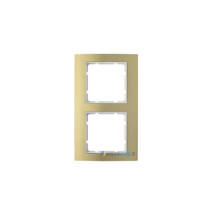 Ramka 2-krotna alu złoty/biały Berker B.3