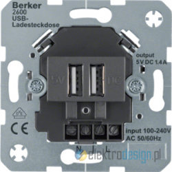 Ładowarka usb czarny połysk Berker R.1/R3