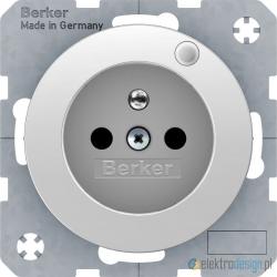 Gniazdo z uziemieniem biały połysk Berker R.1/R3