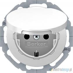 Gniazdo z klapką z uziemieniem SCHUKO biały połysk Berker R.classic
