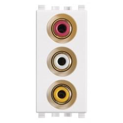 Gniazdo z 3 wejściami RCA, biały, Vimar EIKON