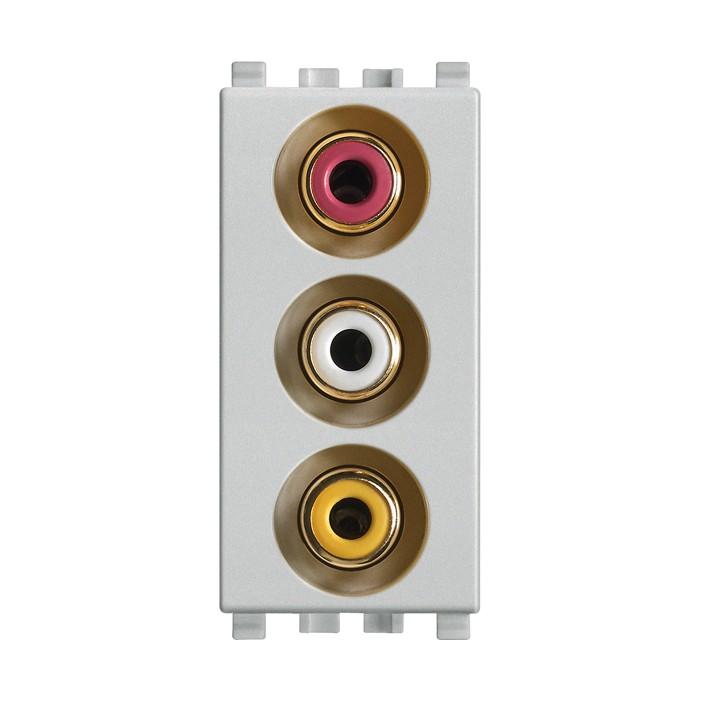 Gniazdo z 3 wejściami RCA, srebrny, Vimar EIKON