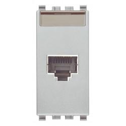 Gniazdo komputerowe, RJ45, kat.5e, Netsafe FTP110, 1M, srebrny, Vimar EIKON