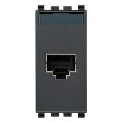 Gniazdo komputerowe, RJ45, kat.5e, Netsafe FTP110, 1M, antracyt, Vimar EIKON
