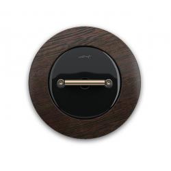 Fontini DO włącznik porcelanowy retro czarny / miedź / ciemny buk podtynkowy