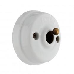 Porcelanowy włącznik z mosiężną dźwignią