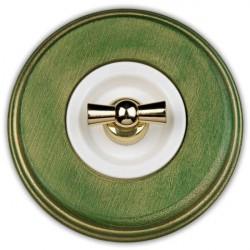 Fontini Venezia włącznik obrotowy uniwersalny drewno zielony / złoty