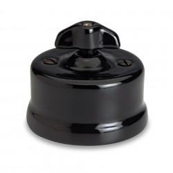 Fontini Garby porcelanowy włącznik czarny uniwersalny / retro knob