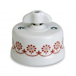 Fontini Garby porcelanowy włącznik biały uniwersalny / retro knob