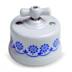 Fontini Garby porcelanowy włącznik biały, Brown Decor uniwersalny / retro knob