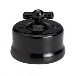 Fontini Garby porcelanowy włącznik czarny z drewnianym pokrętłem