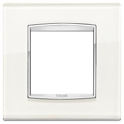 Ramka Vimar Eikon Chrome Classic, White ice - białe szkło 2M
