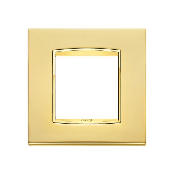 Ramka Vimar Eikon Chrome Classic, satynowe złoto, metal rafinowany, 2M