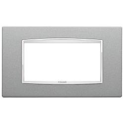 Ramka Vimar Eikon Chrome Classic, srebrny metalik, metal lakierowany, 4M